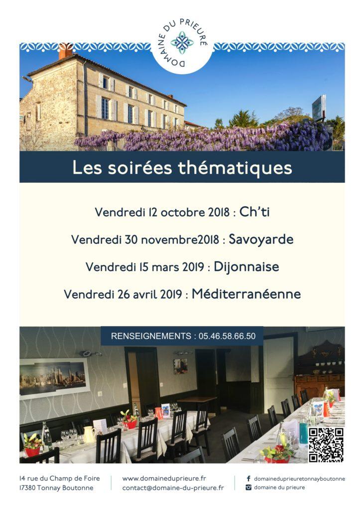 Programme 2018 2019 des soirées thématiques du Domaine du prieuré